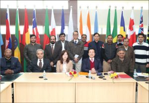 (From right, front row) Agrim Kaushal, Economic Adviser, International Solar Alliance (ISA); and Takashi Uto, Vice Minister, Foreign Affairs, Government of Japan, at the ISA Secretariat in Gurugram