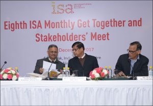 (From left) ISA's Agrim Kaushal; Upendra Tripathy, Interim Director General; and Dr O.S. Sastry, Senior Consultant, at an ISA meeting