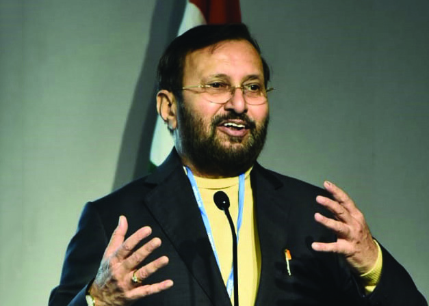 Prakash Javadekar, Minister for Environment, Forest and Climate Change, addresses the audience at a session hosted by the International Solar Alliance (ISA) during the UNFCCC Conference of Parties (COP25) in Madrid