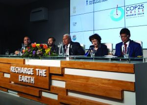 (From left) Anand Kumar, Secretary, Ministry of New and Renewable Energy; Prakash Javadekar; Josaia Voreqe Bainimarama, Prime Minister of Fiji; Brigitte S. Collet, French Ambassador for Climate Change; and Upendra Tripathy, Director General, ISA, at a side event hosted by ISA during COP25
