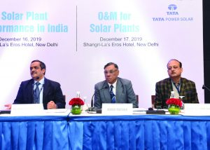 "(From left) Solar Energy Corporation of India's Rajesh Kumar Jain, Additional General Manager; Manoj Mathur, Director, Solar; and Ajay Kumar Sinha, Additional General Manager, at Renewable Watch's conference on ""O&M for Solar Plants"""