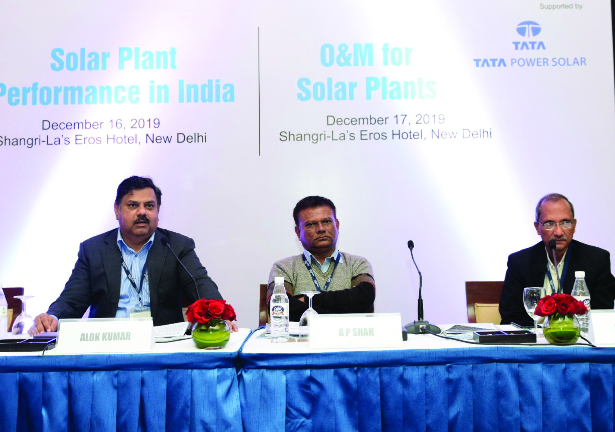 "(From left) Alok Kumar, Deputy General Manager, Northern Regional Load Despatch Centre, Power System Operation Corporation Limited; and A.P. Shah and S.L. Agrawal, Executive Engineers, Gujarat Load Despatch Centre, Gujarat Energy Transmission Corporation, at Renewable Watch's conference on ""Solar Plant Performance in India"""